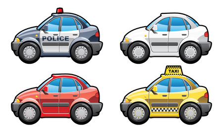 police cartoon: 8 illustration of cars. (Simple gradients only - no gradient mesh.)