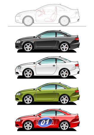 part of my collections  of Car body style. Simple gradients only - no gradient mesh Ilustracja