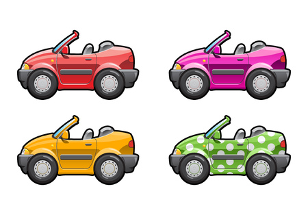 car side view: Convertible. part of my collections  of Car body style. Simple gradients only - no gradient mesh Illustration