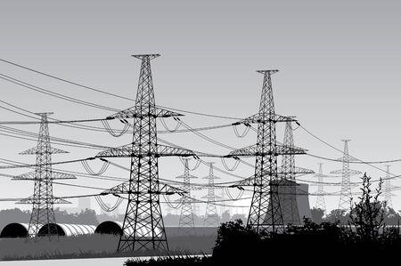 power  lines.  Stock Vector - 6900610