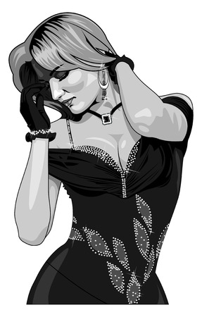 splendour: illustration beautiful girl in evening dress.