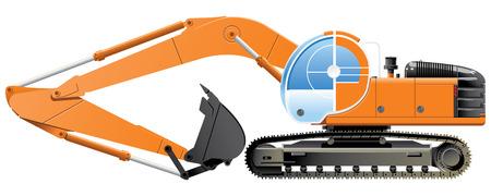 dredger: excavator  (Simple gradients only - no gradient mesh.)
