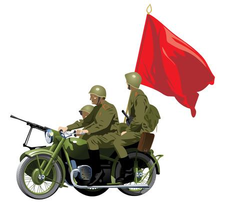 cartoon soldat: Motorräder WWII. (Einfache Farbverläufe nur - kein Farbverlauf mesh.)  Illustration