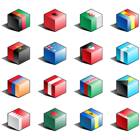 tridimensional: Flag icon set (part 1) Illustration