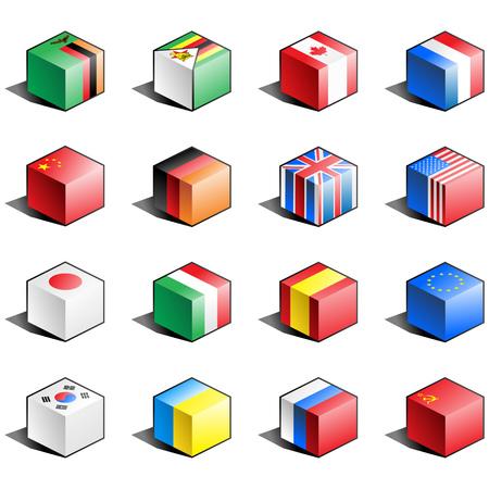 bandera japon: Bandera de icono conjunto (parte 13) Vectores