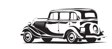 レトロな車が黒と白のベクトル イラスト  イラスト・ベクター素材