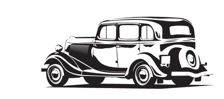 car side view: Vector illustration of a retro car black and white