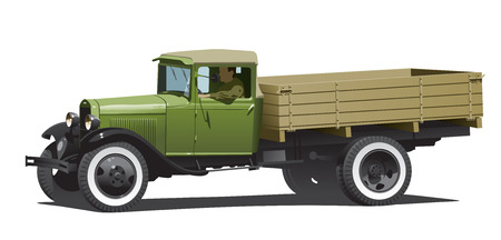 old truck: retro lorry isolated. (Simple gradients only - no gradient mesh.) Illustration