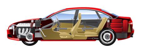 cutaway drawing: Illustrazioni di auto viene assortita.  Vettoriali
