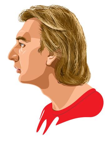 side of light: male profile Illustration