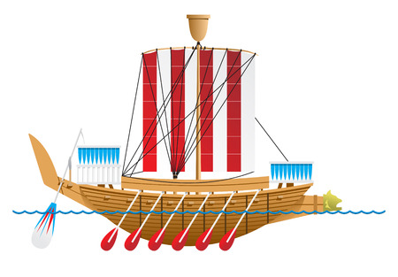 Ancient Egyptian warship. Vector