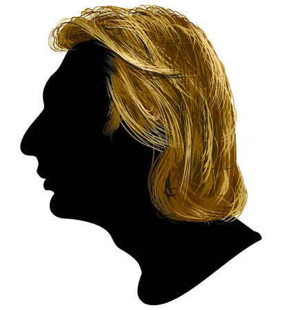 cabello casta�o claro: Ilustraci�n del perfil de los hombres j�venes.
