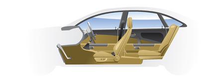 elbowchair: Cut-away  car.  Illustration