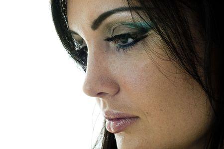 studio photos of beautiful young girl closeup.