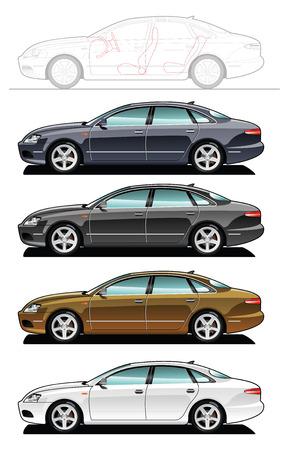car side view: executive car Illustration