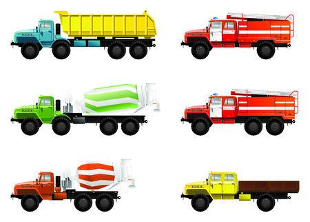 Ilustración de color de camiones. (mezcla de camión, tolvas de camiones y bomberos)