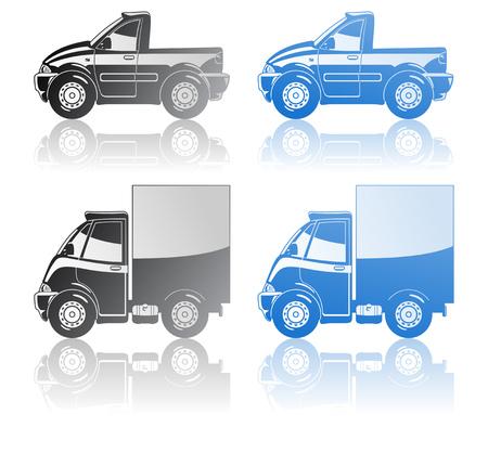 teherautók: pickup and small truck. Illusztráció