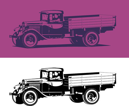 chauffeur: vintage truck Illustration