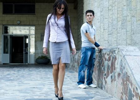 Donna e un ragazzo  Archivio Fotografico - 9280785