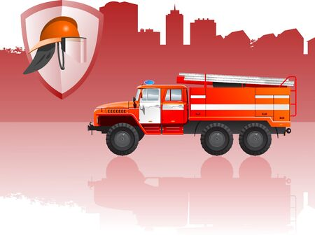 car side view: Fire apparatus Illustration