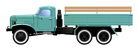 car side view: vintage truck Illustration