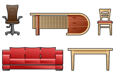 red couch: set of furniture Illustration