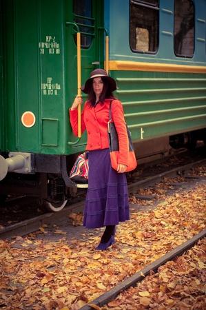 girl in train photo