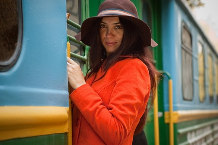 �aucasian: girl in train