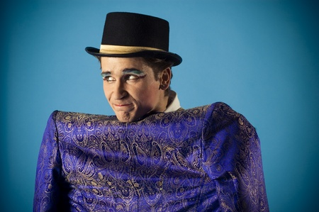 portrait of an actor dressed in a jacket on his back before photo