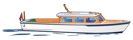 motor launch: white boat