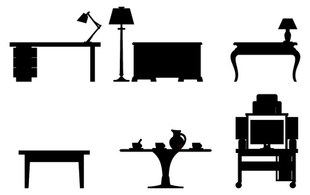 table lamp: Vector black and white illustration of six tables