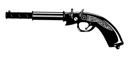 flint gun: pistol. Illustration