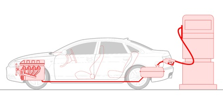 illustration of a car at a gas station.