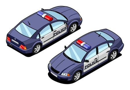cartoon police officer: isometric image of a squad car