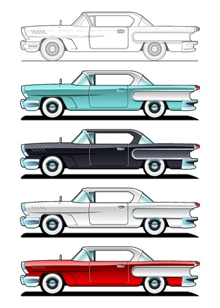 oude autos: Classic Cars - '60 Stock Illustratie