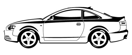 outline drawing: sport coupe Illustration