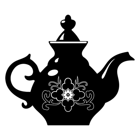 antique dishes: teapot Illustration