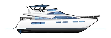yacht: motor yacht Illustration