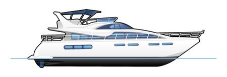 barco caricatura: yate de motor Vectores