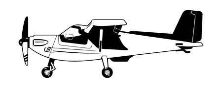 black and white illustration of a light aircraft.   Vector