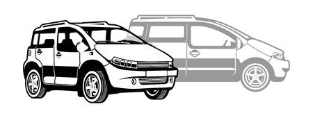smallest: black and white illustration of  microcar   Illustration