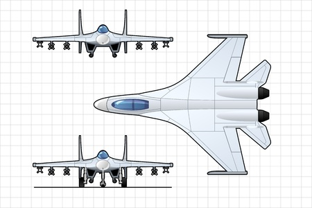 frontal view: fighter