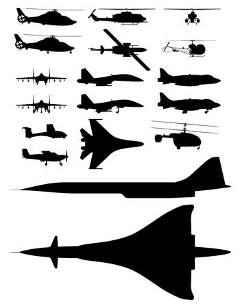 mis d'illustrations de silhouettes d'avions.