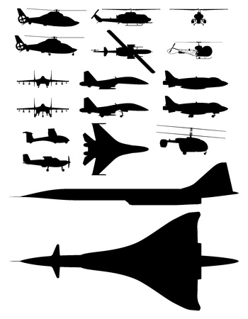 missiles: set of illustrations of silhouettes of aircraft.