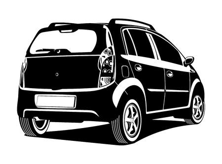 back view: illustration of car