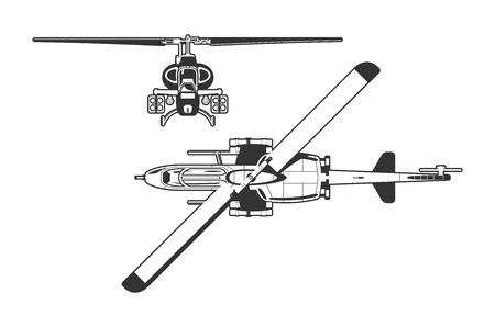 frontal view:  attack helicopter  Illustration