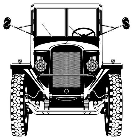 car front: vintage car Illustration