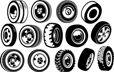tire cover: A diverse set of options for wheels  black and white illustration
