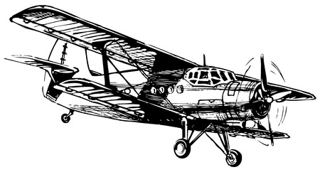 "Vector drawing of airplane stylized as engraving  Antonov An-2   Annushka , ""Kukuruznik""  or  Annie   Vector"