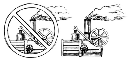 expulsion: Vector drawing of steam engine stylized as engraving   Illustration